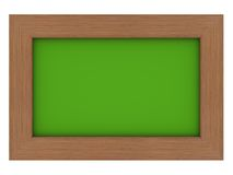 Wooden frame with green background. Isolated wooden frame with green background Royalty Free Stock Photos