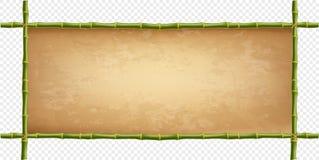 Frame of green bamboo sticks with vintage paper blank. Wooden frame of green bamboo sticks with higly detailed vintage paper blank. Worn papyrus template, old vector illustration