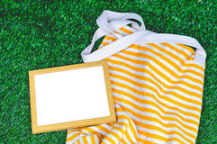 Wooden Frame Green Grass Background Royalty Free Stock Photo
