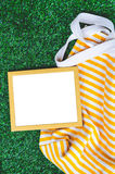 Wooden Frame Green Grass Background Royalty Free Stock Image