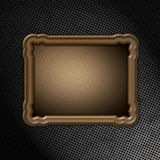 Wooden frame on grunge metal Royalty Free Stock Photos