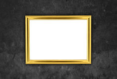 Wooden frame at grunge wall with clipping path Stock Images