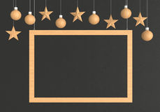Wooden frame with hanging balls and stars ornaments on dark background. For new year or christmas theme. 3D rendering Royalty Free Stock Image