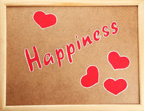 Wooden frame, happiness close up. Stock Images