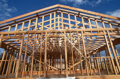 Wooden frame of house being constructed Stock Photos