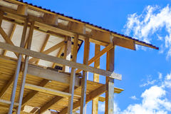 Wooden frame house. Blue sky royalty free stock images