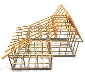 Wooden frame of a house (top view). Royalty Free Stock Images