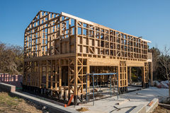 Wooden frame of house under construction Royalty Free Stock Photography