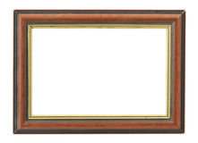 Wooden frame with an inner gilded rim Royalty Free Stock Images