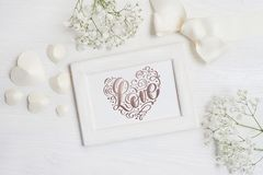 Wooden frame with the inscription Love card for St. Valentine`s Day in rustic style with place for your text, Flat lay, top view Stock Photography
