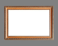Wooden frame isolated on gray background. Royalty Free Stock Images