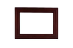 Wooden frame isolated white background Royalty Free Stock Photo