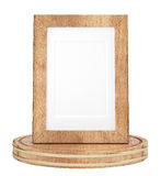 Wooden frame isolated on white background Stock Images
