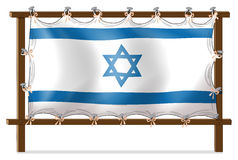 A wooden frame with the Israel flag Royalty Free Stock Images
