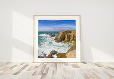 Wooden frame leaning in bright white interior with wooden floor mockup 3D rendering. Squared wooden frame leaning in bright white interior with wooden floor stock illustration