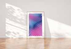 Wooden frame leaning in bright white interior with wooden floor mockup 3D rendering. Vertical wooden frame leaning in bright white interior with wooden floor royalty free illustration