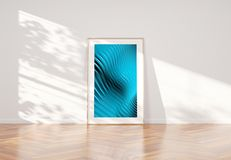 Wooden frame leaning in bright white interior with wooden floor mockup 3D rendering stock illustration