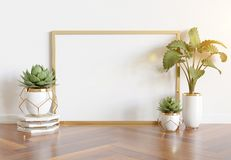 Wooden frame leaning in bright white interior with plants and decorations mockup 3D rendering royalty free illustration