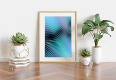 Wooden frame leaning in bright white interior with plants and decorations mockup 3D rendering stock illustration