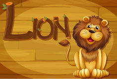 A wooden frame with a lion Stock Images