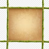 Wooden frame made of green bamboo sticks with retro paper. Blank or canvas. Worn papyrus template, old grunge poster with space for text. Vector clip art Royalty Free Stock Images