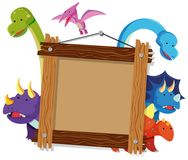 Wooden frame with many dinosaurs in background. Illustration Stock Images
