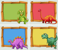 Wooden frame and many dinosaurs. Illustration Royalty Free Stock Image