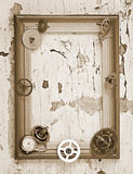 Wooden frame and mechanical clock gears Royalty Free Stock Photo