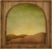 Wooden frame in metal framed. Background or illustration with  wooden texture vintage frame. Computer graphics Royalty Free Stock Photo