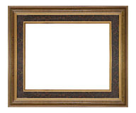 Wooden frame modern vintage isolated white background. Royalty Free Stock Photo
