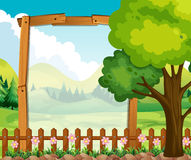 Wooden frame with nature background. Illustration Stock Image