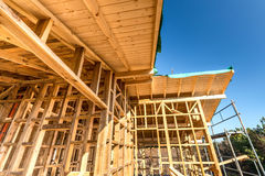 Wooden frame of a new house under construction Stock Photography