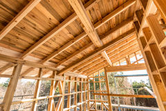 Wooden frame of a new house under construction Stock Images