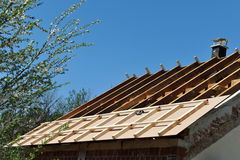 Wooden frame of new roof Royalty Free Stock Photography