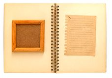 Wooden frame  the notebook notepad Royalty Free Stock Photos
