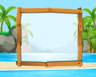 Wooden frame with ocean in background. Illustration Stock Images
