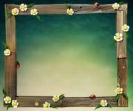 Wooden frame. Frame  old boards flower ladybug. Computer graphics Stock Image