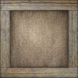 Wooden frame with old canvas inside Royalty Free Stock Photos