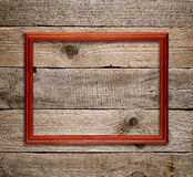 Wooden frame on old wood Royalty Free Stock Photos