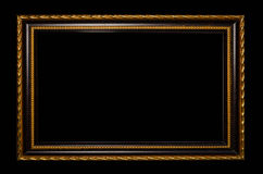Wooden frame for painting or picture on black background Stock Photos