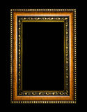 Wooden frame for painting or picture on black background Royalty Free Stock Photo