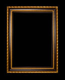 Wooden frame for painting or picture on black background Royalty Free Stock Photos