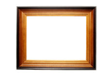 Wooden frame for paintings. Brown wooden frame for paintings white isolated Stock Photo