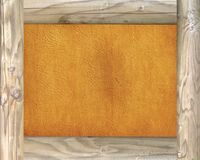 Wooden frame on parchment background Royalty Free Stock Photos