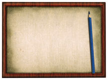 Wooden frame and pencil Stock Photo