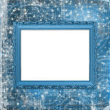 Wooden  frame for photo on the curl background Royalty Free Stock Images