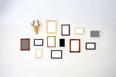 Wooden frame photo decorate on white wall. Wooden frame photo decorate on white cement wall Stock Image