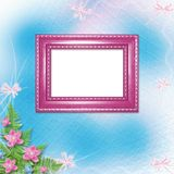 Wooden frame for photo with pink orchids. And green fern Stock Photos