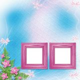 Wooden frame for photo with pink orchids Royalty Free Stock Photography
