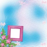 Wooden frame for photo with pink orchids. And green fern Royalty Free Stock Photography